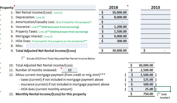 rental income worksheet