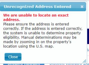 USDA unrecognizable address